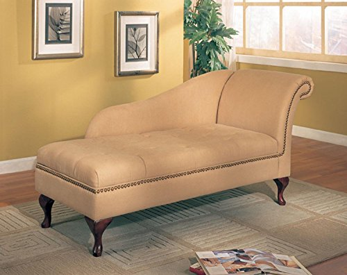 (Coaster Tan Microfiber Chaise Lounger with Storage Space)