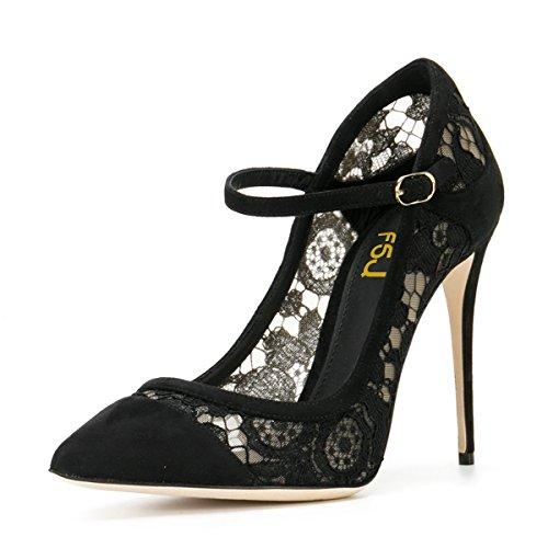 Fsj Vrouwen Sexy Zwarte Kanten Pumps Spitse Teen Hoge Hakken Mary Jane Stilettos Partyschoenen Maat 4-15 Us Zwart