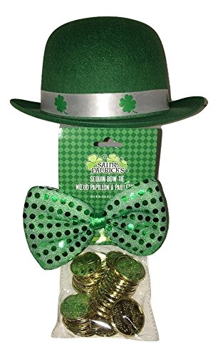 Blue Topaz Boutique Kiss Me I'm Irish ST. Patrick's Day Hat, Bow Tie, and Gold Coin Set ~USA SELLER ~ Fast Shipping ~