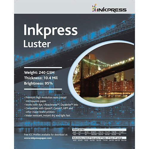 Premium Single Sided Photo Paper (Inkpress Luster, Single Sided Inkjet Paper, 240gsm, 10.4 mil., 4