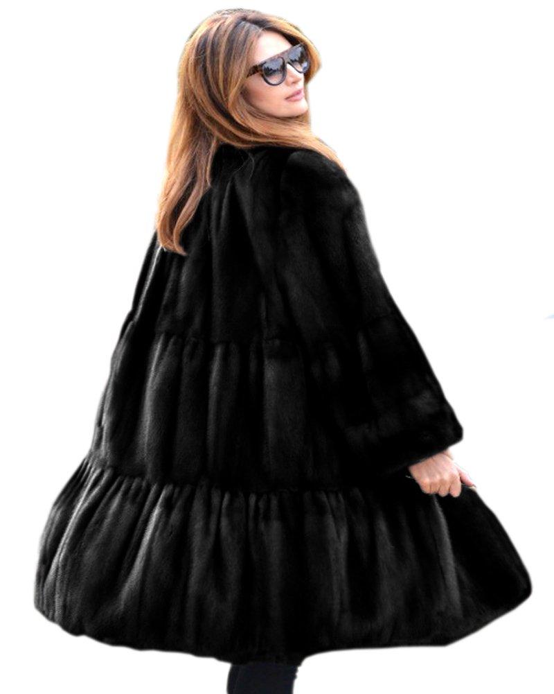 Aofur Luxury Faux Fur Parka Coat Long Lapel Trech Jacket Winter Outerwear Warm Overcoat Women Size S-XXXL (XX-Large, Black)