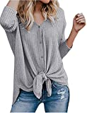 Halife Women's Autumn Long Sleeve Button Down Basic Cardigan Sweater Gray,M