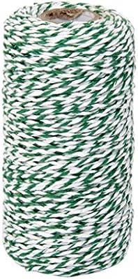 100m Rollo de Cuerda Cinta Hilo Algodón para Costura Artesanía Verde Blanco: Amazon.es: Hogar