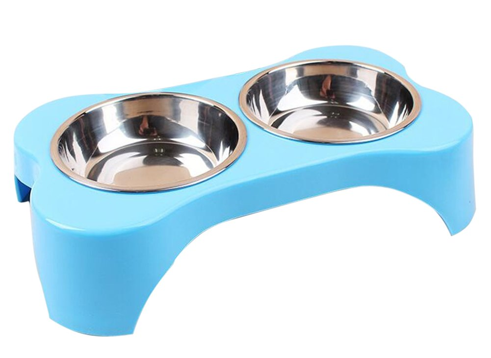 Pets Elevated Feeder Raised 2 Bowls Stainless Steel Food