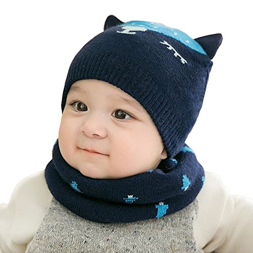 Urberry Knit Beanie Cap for Baby, Autumn Warm Kids Girl Boy Ear Hat+Scarf for Babies 0-12Month (Deep blue) (Save Hats Children Knit)