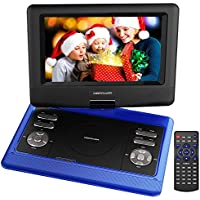 DBPOWER 10.5 Inch Portable DVD Player with Rechargeable Battery, SD Card Slot and USB Port - Blue