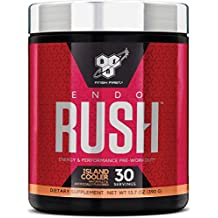 BSN Endorush Pre-Workout Powder, Island Cooler Flavor Energy Supplement for Men and Women, 300mg of Caffeine, with Beta-Alanine and Creatine, 30 Servings