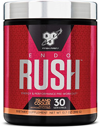 BSN Endorush Pre Workout Powder, Island Cooler Flavor Energy Supplement for Men and Women, 300mg of Caffeine, with Beta-Alanine and Creatine, 30 Servings