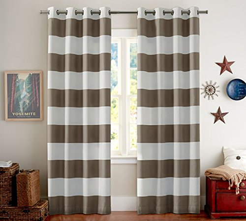 Bedroom Blackout Curtains Panels - Window Treatment Thermal Insulated Striped Grommet Drapes for Living Room (Set of 2 Panels, 55 by 96 Inch, Taupe) (Living Set Taupe Room)