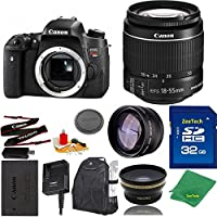 Great Value Bundle for T6S DSLR – 18-55mm STM + 32GB Memory + Wide Angle + Telephoto Lens + Backpack