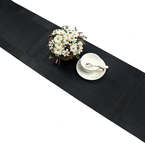 UArtlines Compatible Placemats Table Runner, 1 Piece Black Crossweave Woven Vinyl Table Runner Washable 30x180cm