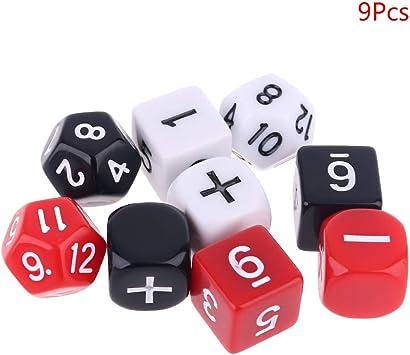 lyqdxd 9pcs / Set matemáticas Juego de Dados, números Suma Resta Símbolo Dados Perlas D12 D6 Enseñanza Dados Portable de los Juegos de Mesa Juguetes: Amazon.es: Juguetes y juegos