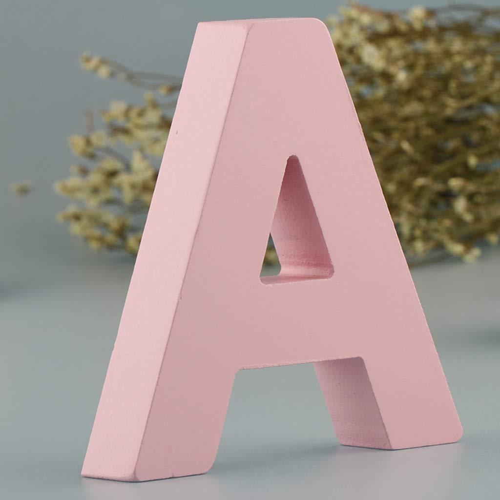 Targa in Legno con 26 Lettere dellalfabeto da Appendere alla Porta per cameretta dei Bambini Unbekannt Decorazione Rosa A