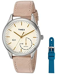 Timex Women's TWG013500 IQ+ Move Activity Tracker Tan Leather Strap Watch Set With Extra Teal Silicone Strap
