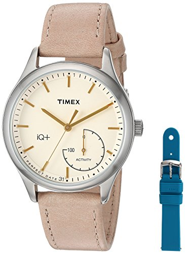Timex Women's TWG013500 IQ+ Move Activity Tracker Tan Leather Strap Smart Watch Set With Extra Teal Silicone Strap (Set Watch Timex)