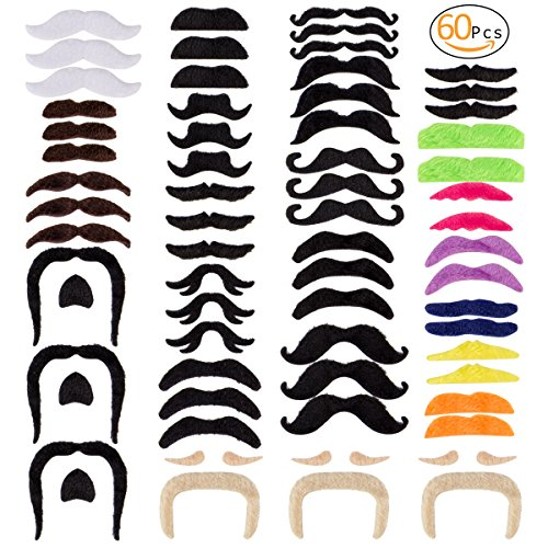 ANPHSIN 60 Pcs Novelty Fake Mustache Set,Christmas Cosplay Costomes, Multi-Colored Self Adhesive Mustaches Suitable for Kids and Adults Party Supplies for Masquerade Costume Party -