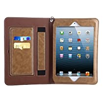 iPad Mini 1 2 3 Sleeve Case Cover, Abestbox Multi Function Flip Leather Case [Auto Sleep/Wake] Portable Travel Bag with Card Slots Stand for iPad Mini1 / Mini2 / Mini3 (Khaki)