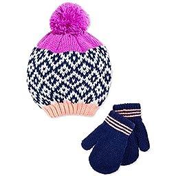Carter\'s Little Girls Pom-Knit Hat & Mittens Set - Size 2T-4T