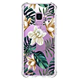 Galaxy S9 Case Shockproof Protective Case Clear with Tropical Flowers Palm Tree Leaves Design Pattern Print Cute Cell Phone Cover for Samsung Galaxy S9 5.8 Inch Hawaii Summer Floral Flexible Sim Fit