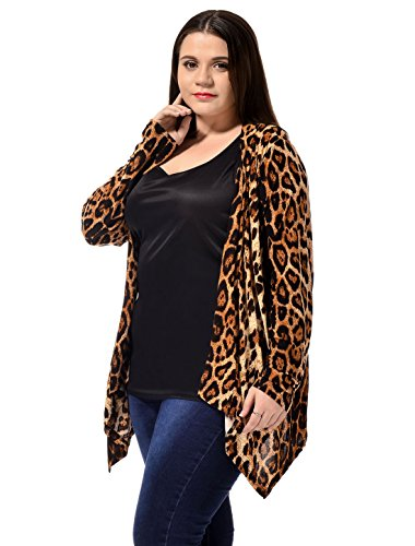 Toe For Marrone Cardigan Fashion Large Leopard Allegra Open Stampa Women K Size x68nwqAZ