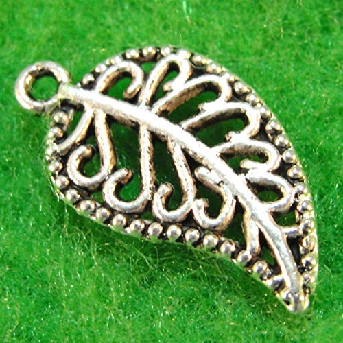 20Pcs. Tibetan Silver Filigree Leaf Charms Earring Drops Jewelry Finding L13 Crafting Key Chain Bracelet Necklace Jewelry Accessories Pendants ()
