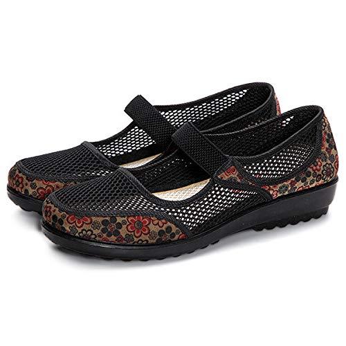 Confortable 39 Chaussures Sandals Elastic De Fleur Respirant Ceinture Femme Qiusa Pour Taille Noir Eu Plat Travail Imprim couleur Noir 5TXwqgY