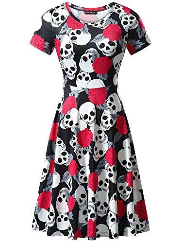 FENSACE Womens Short Sleeves Casual A-Line Halloween Pumpkin Dress,XX-Large, Skull, 17038-9