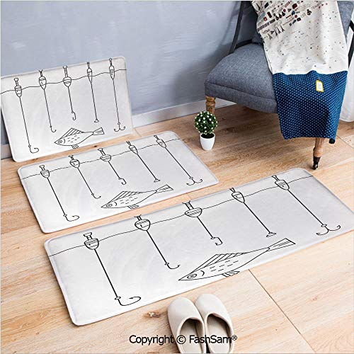 3 Piece Fashion Flannel Door Mat Carpet Illustration of Fishing Tackle Floaters Hooks Fishing Gear Equipment Doodle Style Art for Door Rugs Living Room(W15.7xL23.6 by W19.6xL31.5 by W19.6xL59)