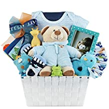 Newborn Baby Boy Gift Basket with Onesie, Plush, Toy, Piggy Bank and Picture Frame