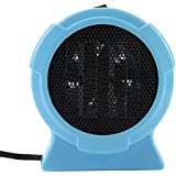 Portable Electric Mini Fan Space Heater 200W Winter Rainy Weater Warmer Home Office Desktop (Blue)