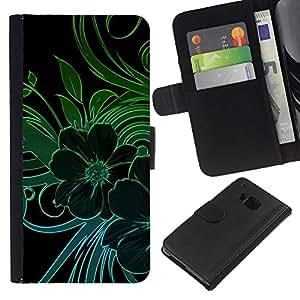 For HTC One M7 Case , Green Teal Black Floral Flowers Petal - la tarjeta de Crédito Slots PU Funda de cuero Monedero caso cubierta de piel