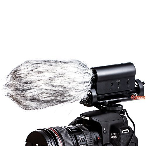 Zeadio 3.5mm Plug Photography Interview Stereo Microphone with Windproof Cotton for Canon Nikon Pentax Panasonic Sony Samsung Olympus DV Digital SLR Camera Camcorder