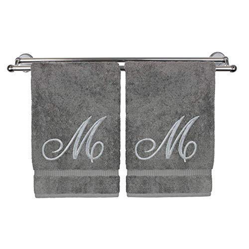 Monogrammed Hand Towel, Personalized Gift, 16 x 30 Inches - Set of 2 - Silver Embroidered Towel - Extra Absorbent 100% Turkish Cotton- Soft Terry Finish - for Bathroom, Kitchen and Spa- Script M Gray (Monogrammed Towels Bath)