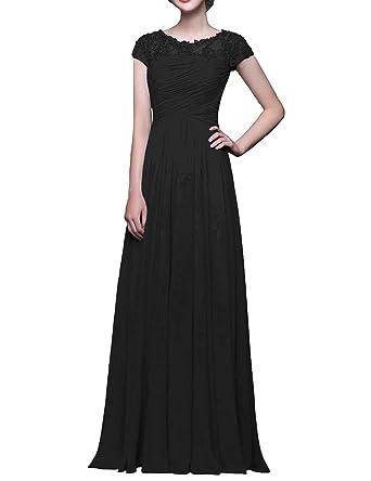 625d97d7d02d Evening Dresses Wedding Guest Gown Cap Sleeve Lace Chiffon Long Beaded  Ruched Black US2