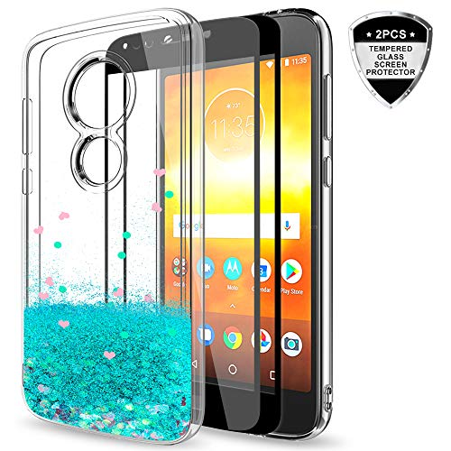 Moto E5 Play Glitter Case,Moto E5 Cruise Case with Tempered Glass Screen Protector [2 Pack] for Girls Women,LeYi Bling Liquid Protective Phone Case for Motorola E Play (5th Gen) ZX Turquoise
