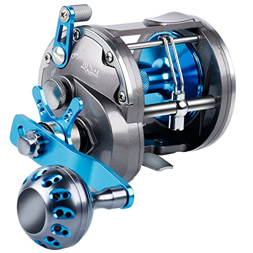 (Burning Shark Trolling Reel Saltwater Level Wind Reels, Drag Reels Boat Fishing Ocean Fishing for Sea Bass Grouper Salmon)