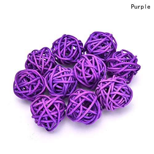 10 Pieces/Set Rattan Wicker Ball Decoration Ornaments Wedding Christmas Party Table Desk Garden Hanging Decoration,Purple,3m