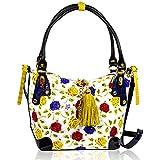 0986ae8fc2 Marino Orlandi Italian Designer Handpainted Yellow Roses Leather Purse  Crossbody Bag