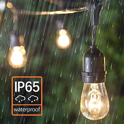 Amico 2 Pack 52FT Outdoor String Lights: Commercial Grade Weatherproof Yard Lights, 11W Dimmable Incandescent Bulbs, UL Listed Heavy-Duty Decorative Patio Bistro Market Café Lights by Amico (Image #3)