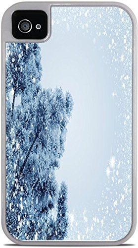 Snow Snowy Winter Christmas Holiday Tree White 2-in-1 Protective Case with Silicone Insert for Apple iPhone 4 / 4S by Moonlight Printing