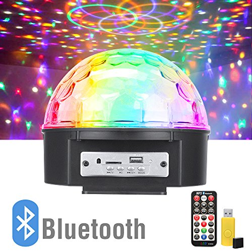 Price comparison product image Omicoo 9 Color LED Disco Lights Sound Activated Stage Lights Music Crystal Magic Ball with Remote Control and Bluetooth Control MP3 Player for Home Dance KTV Bar Parties Birthday DJ Xmas Wedding Club