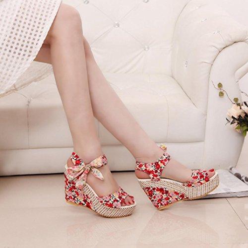 Binmer (tm) Kvinnor Mode Sommar Sluttning Med Flip Flops Sandaler Dagdrivare Skor Röd