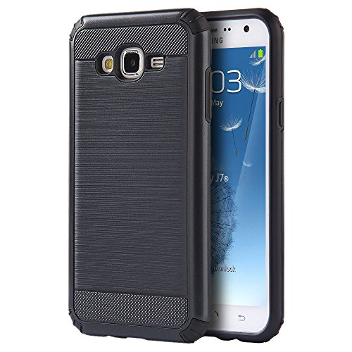 Samsung Galaxy J3V, Sky, Express Prime, Amp Prime Case, Galaxy Sol, J3 Case - Hybrid Hard Shockproof Case Heavy Duty Protective Brushed Phone Armor Protector Cover - Black