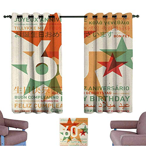 60th Birthday Blackout Draperies for Bedroom World Cities Birthday Party Theme with Abstract Stars Print Room Shadow Green Vermilion and White