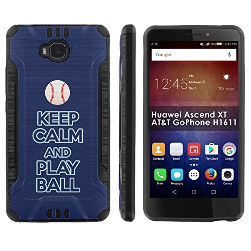 """[Mobiflare] Huawei Ascend XT [AT&T H1611] Shock Proof Armor Phone Cover [Black/Black] Defender Protective Case - [Play Ball - Tampa Bay] for Huawei Ascend XT [AT&T GoPhone H1611] [6"""" Screen]"""