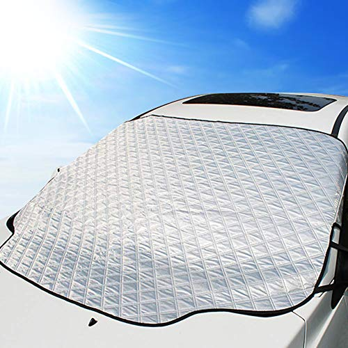 (UBEGOOD Windshield Sunshade with Magnetic Edges, Car Snow Cover for Windshield, Block UV Rays & Snow Off Protector for Most Car & SUVs)