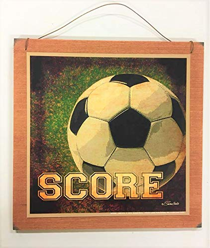 Score Soccer Ball Wooden Boys Sports Bedroom Decor Sign Wood Signs7x7 size