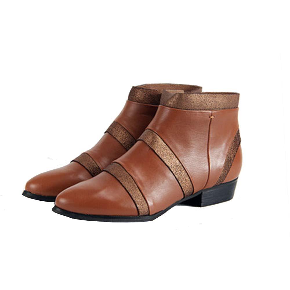 PLNXDM Damen Stiefel Wildleder Chelsea Stiefel Kurze Regen Stiefel Wasserdicht Rutschfeste Leder Bare Stiefel