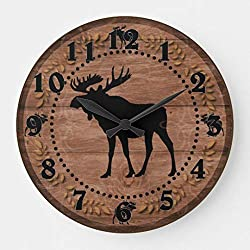 Rustic Wooden Moose Circle Wooden Wall Clock for Living Room Bedroom Kitchen Home Office Decoration 12 Inches