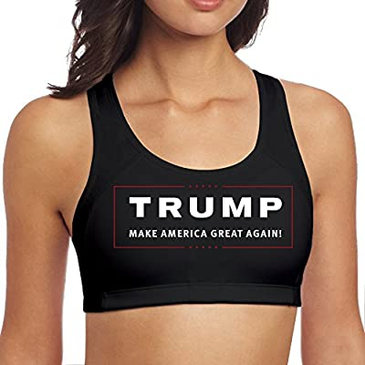 XJBD Women's Particular Trump Make America Great Again Sports Bra Black